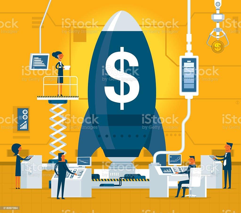 Business startup vector art illustration