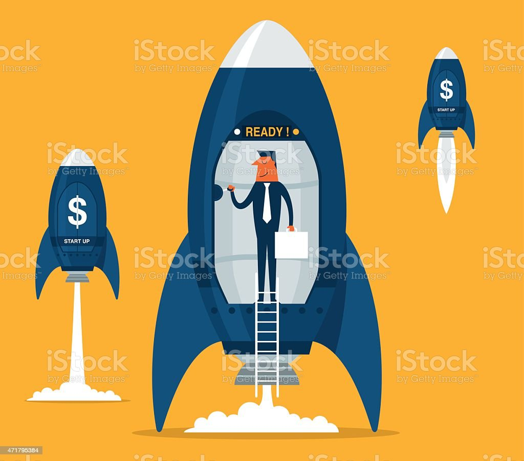Business startup with space rocket vector art illustration
