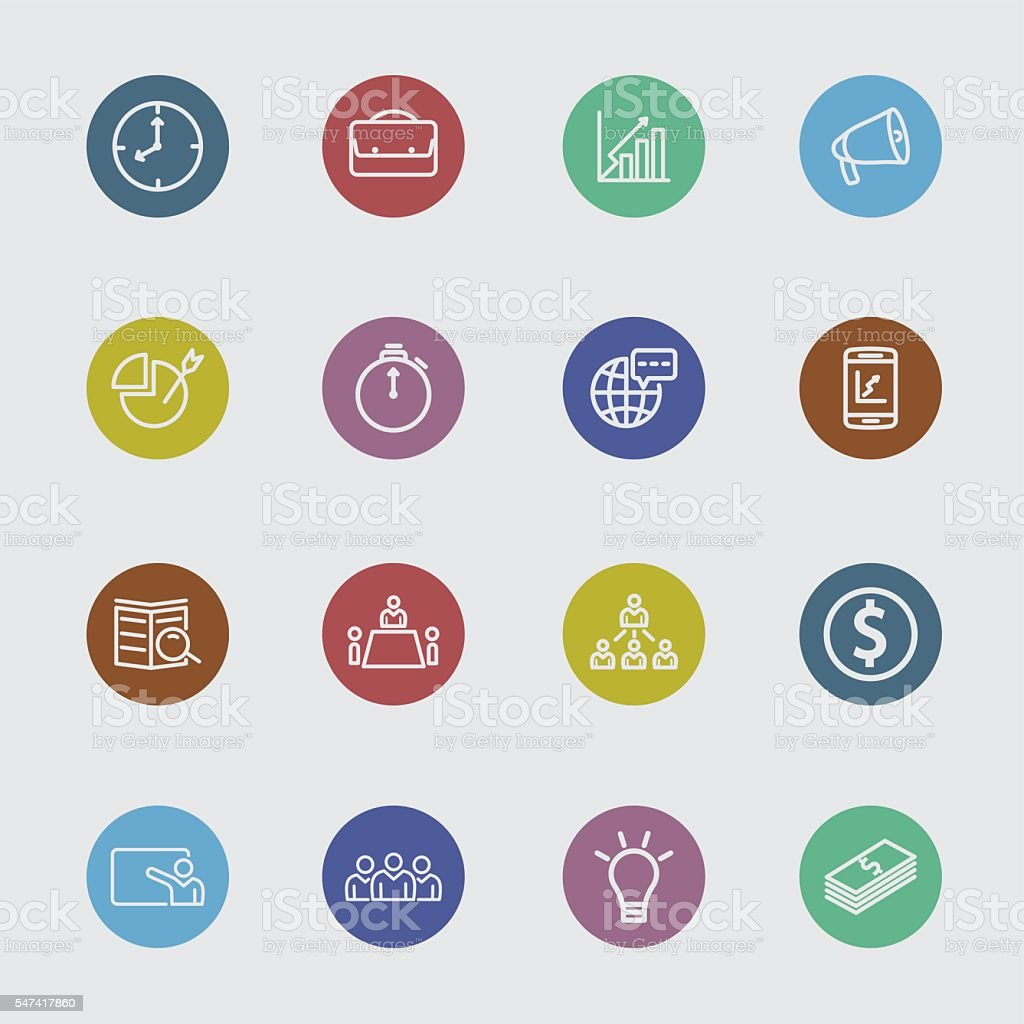 Business strategy and management color circle line icons vector art illustration