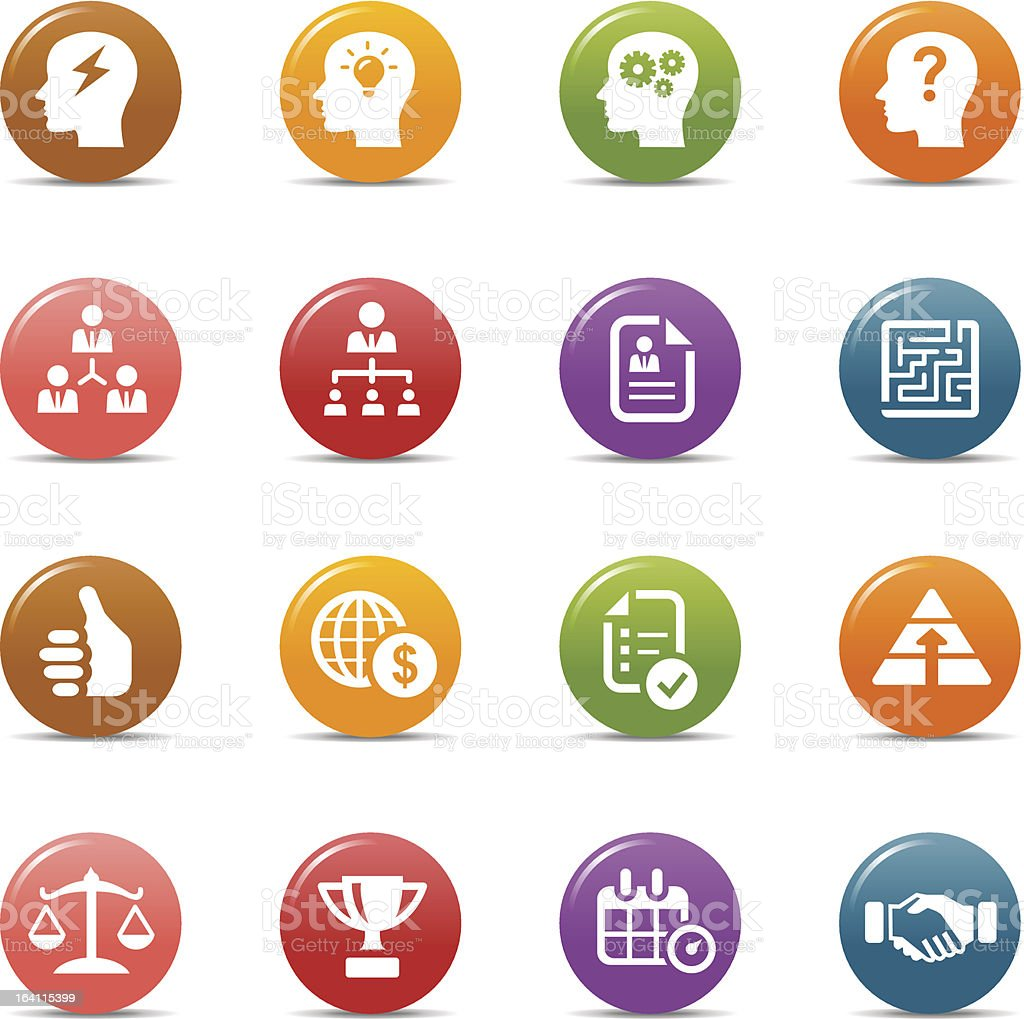 Business strategy and management icons in colorful buttons vector art illustration