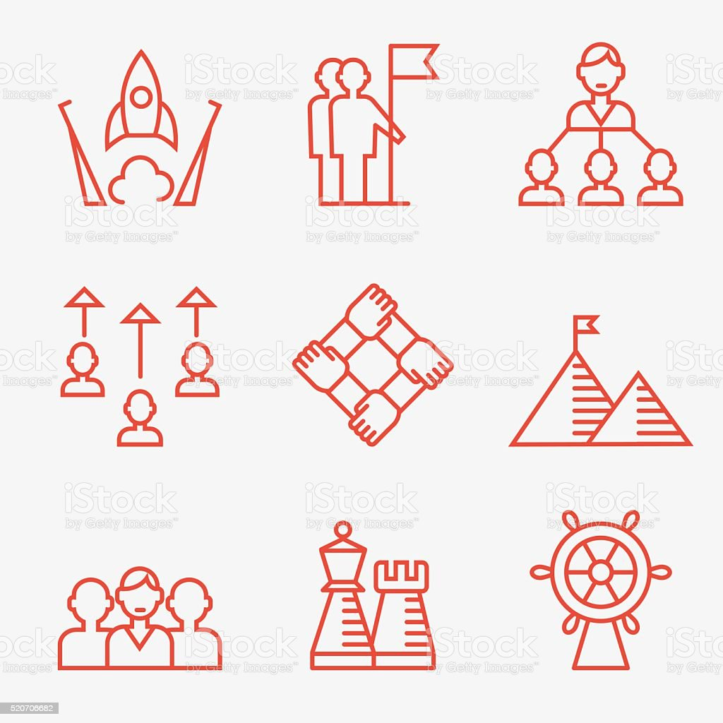 Business strategy and teamwork icons. vector art illustration