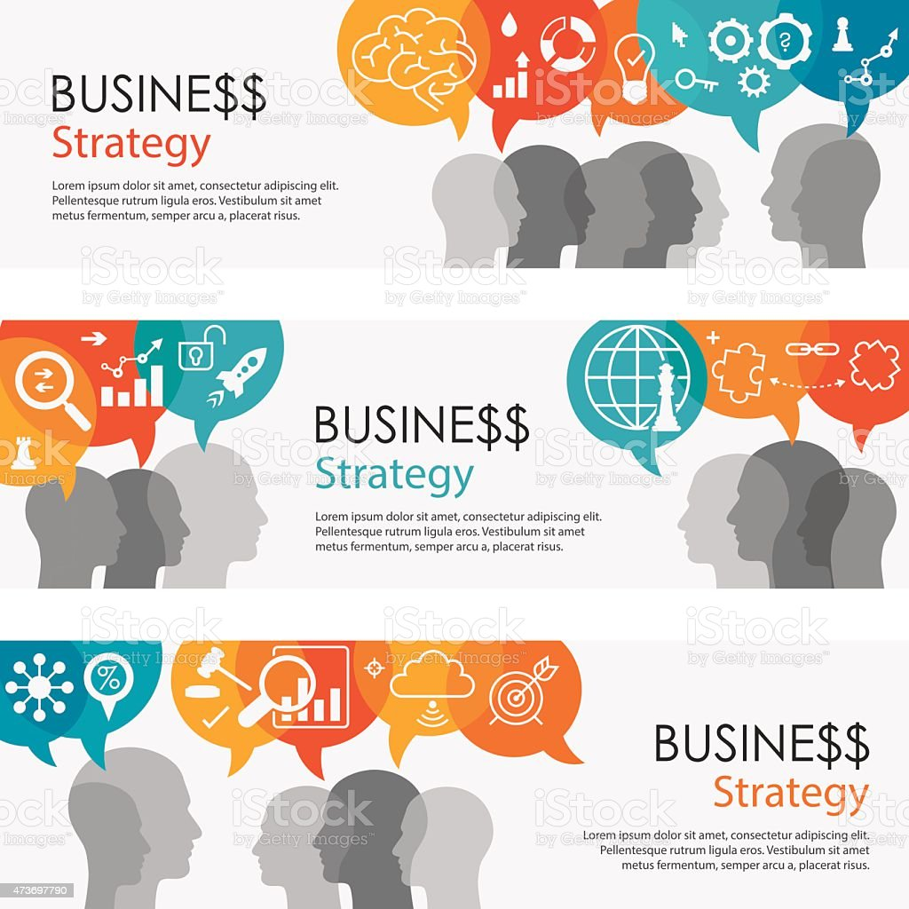 Business Strategy Banners And Icon Set vector art illustration