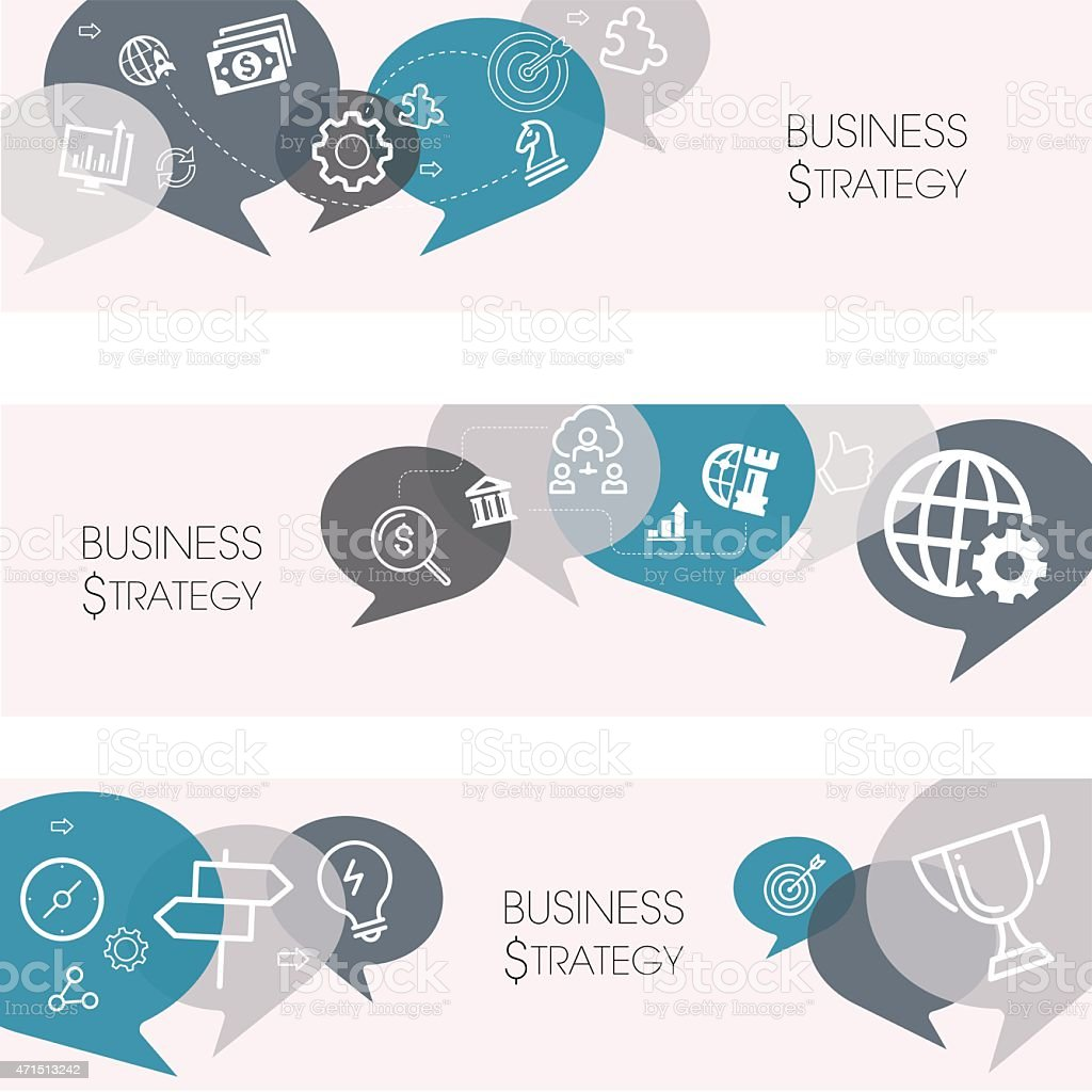 Business Strategy Banners And Relevant Icon Set vector art illustration