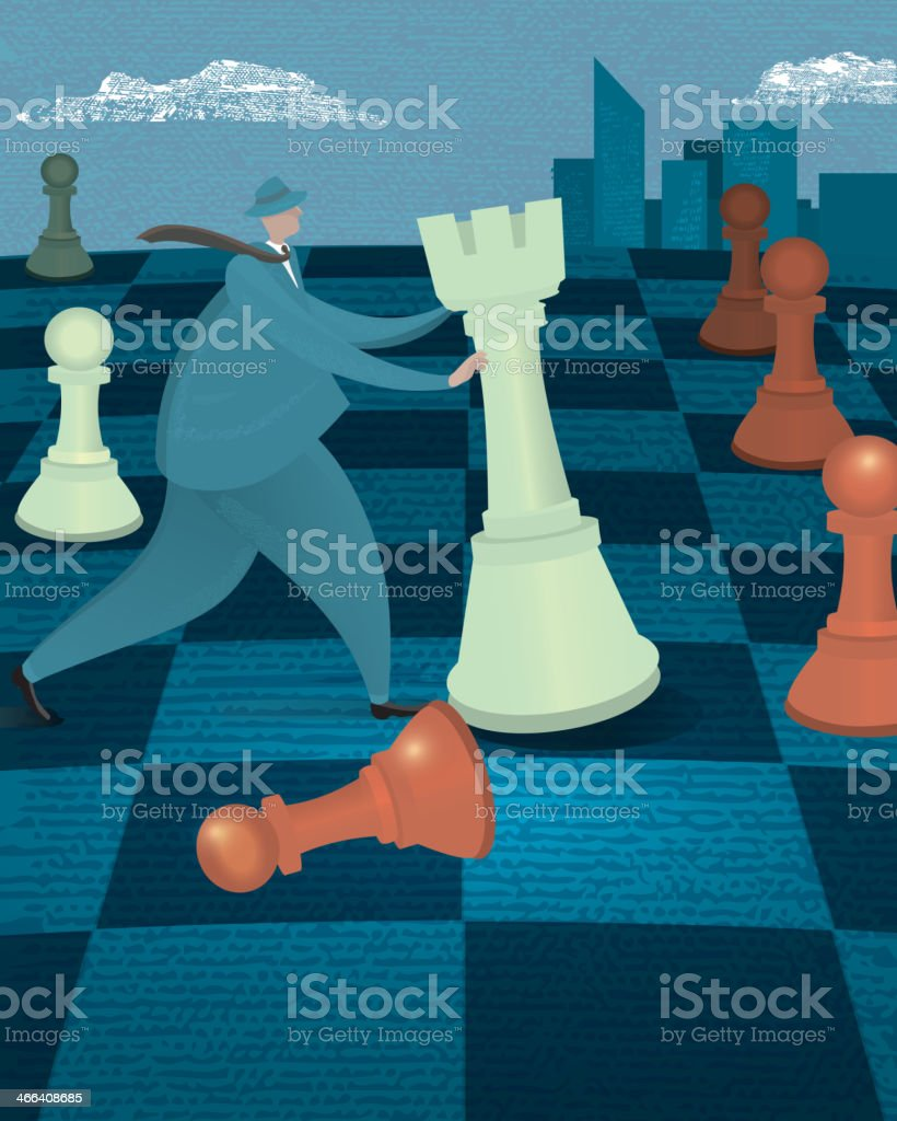 Business strategy concept - Businessman on chessboard with chess piece vector art illustration
