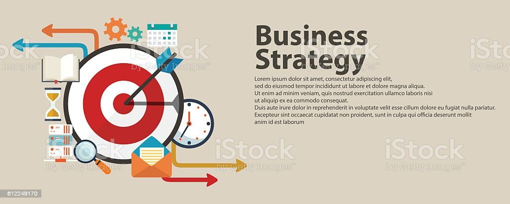 Business strategy concept. Flat banner design stylish. Isolated on color vector art illustration