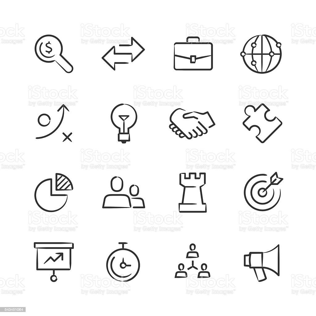 Business Strategy Icons — Sketchy Series vector art illustration