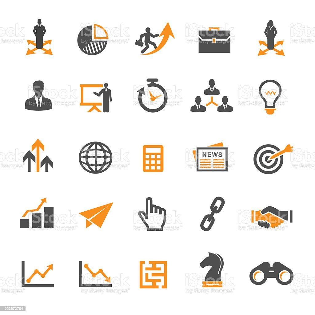 Business Strategy Icons vector art illustration