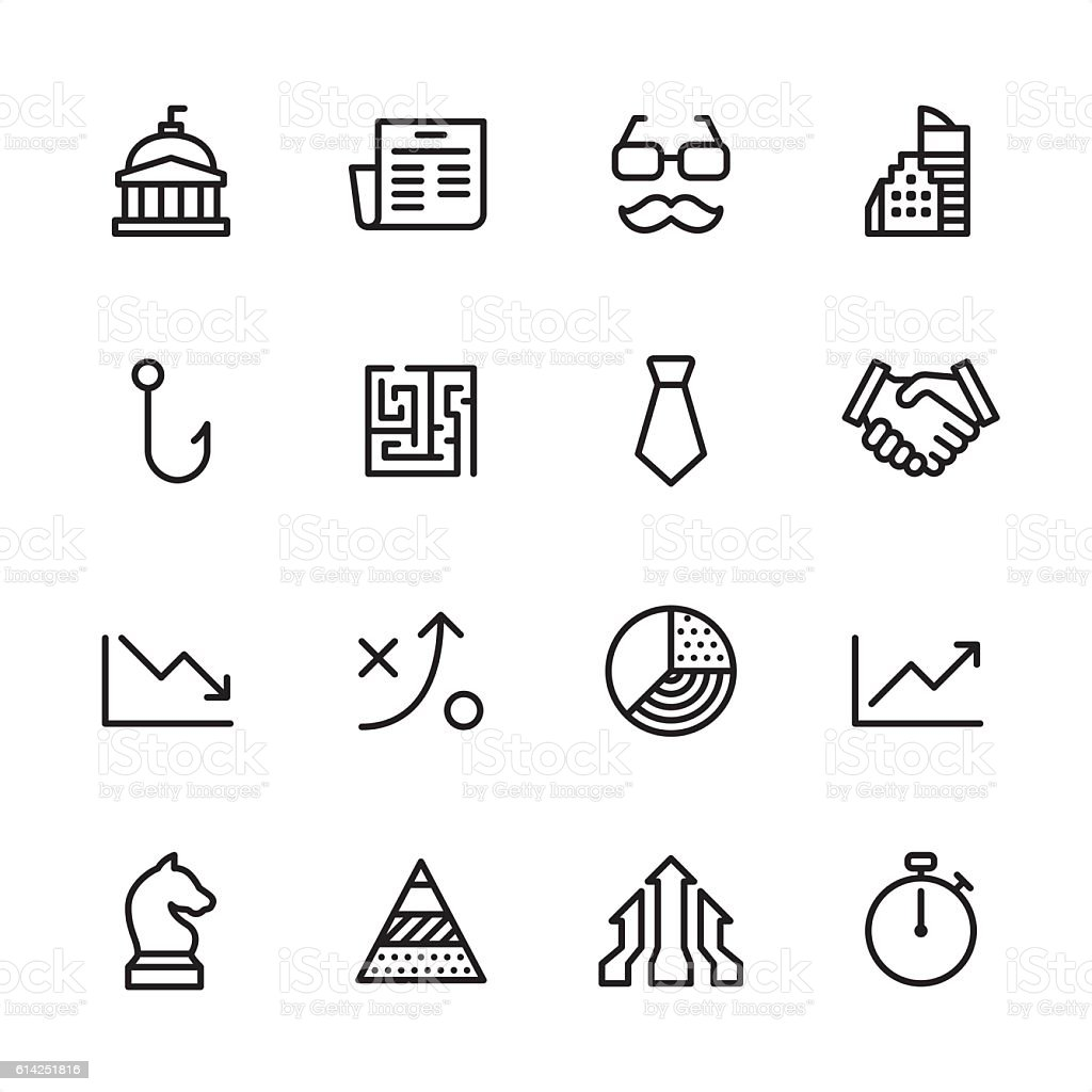Business Strategy - outline style vector icons vector art illustration