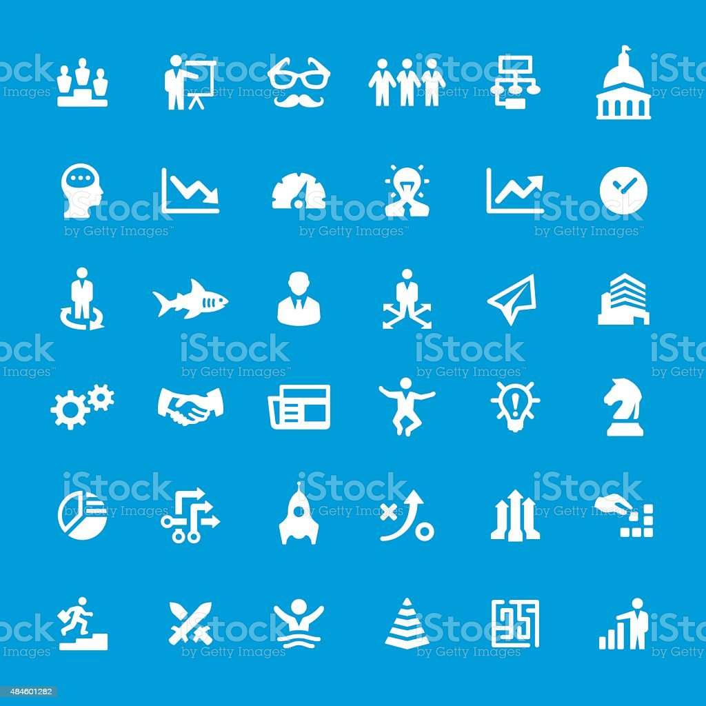Business Strategy related vector icons vector art illustration