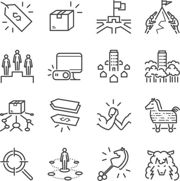 Pricing Strategy Icon: Strengths And Weaknesses Vector Set Clip Art, Vector