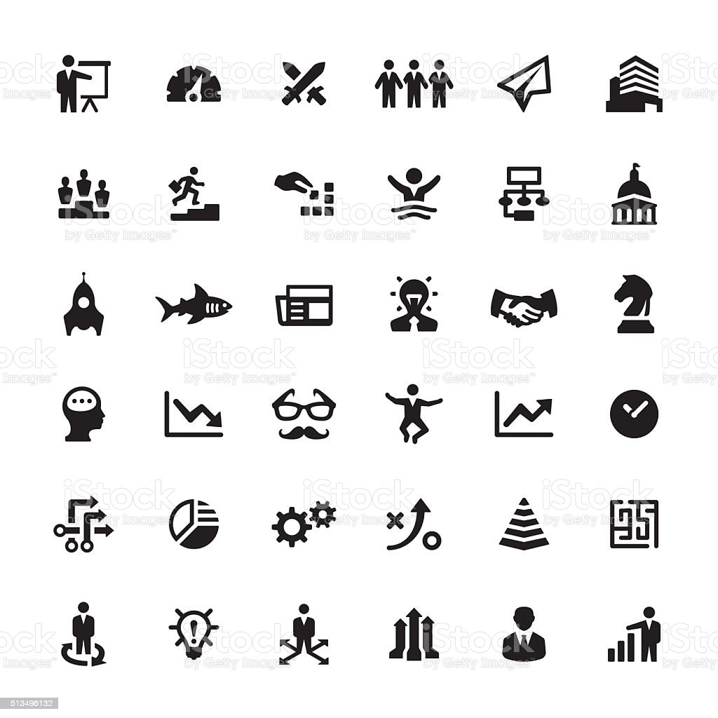 Business Strategy vector symbols and icons vector art illustration
