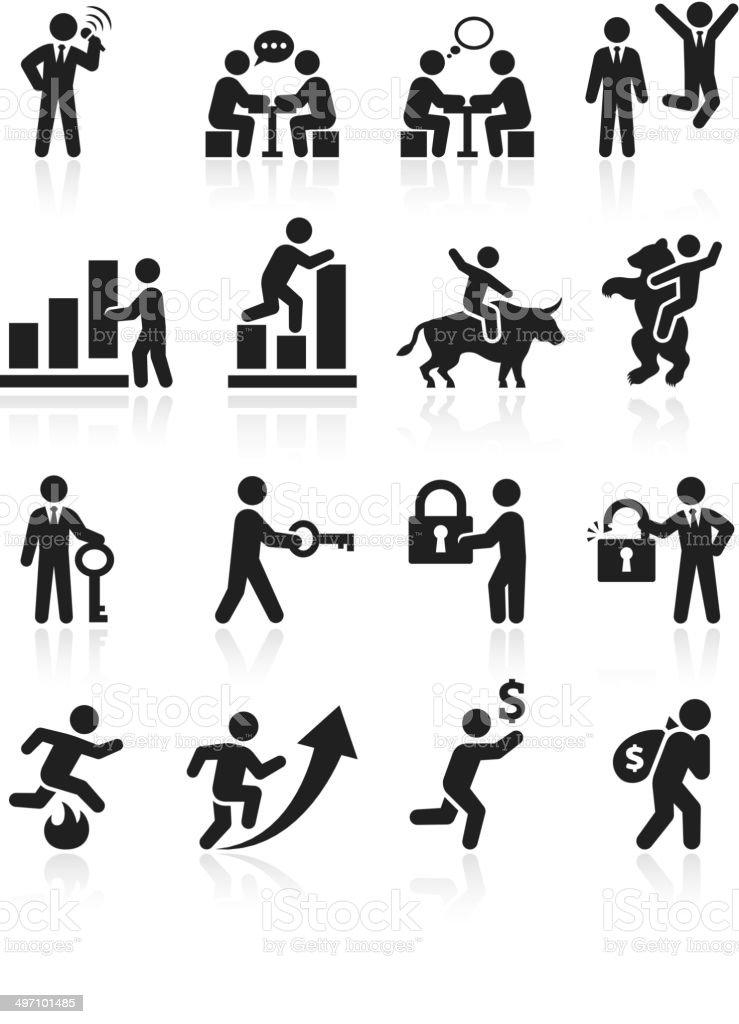 Business success and achievement Black & White Set vector art illustration