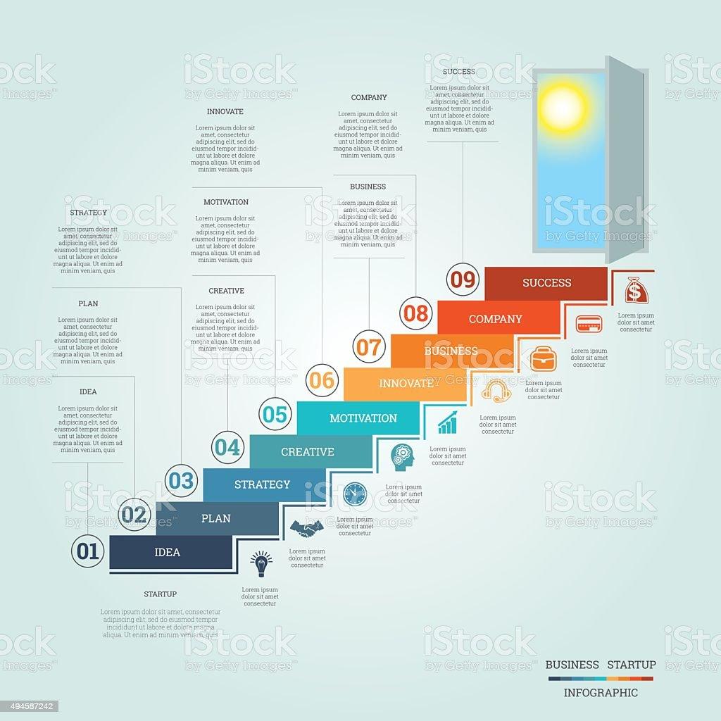 Business success startup infographics nine positions vector art illustration