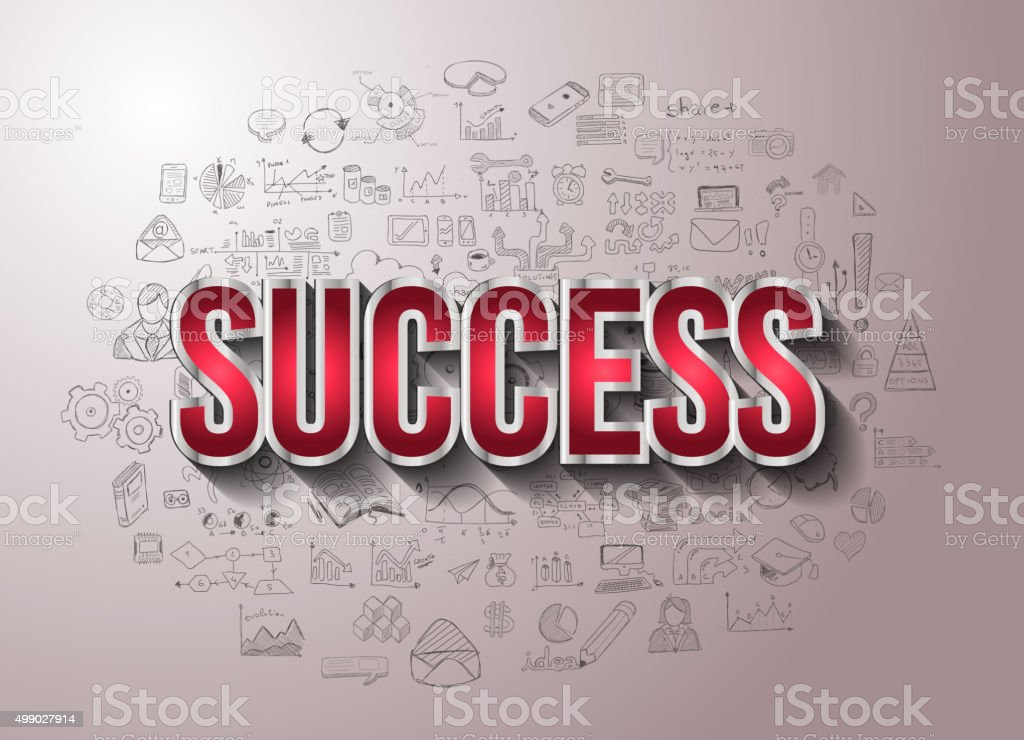 Business Success with Doodle design style vector art illustration