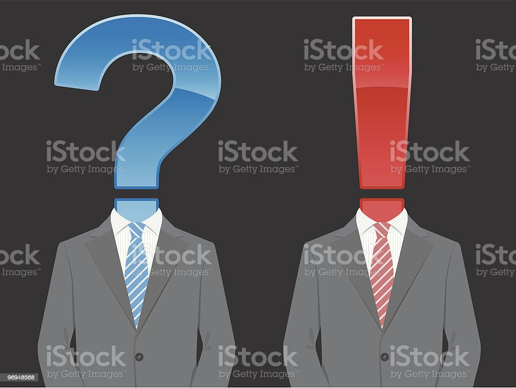 Business suit with question and exclamation mark royalty-free stock vector art