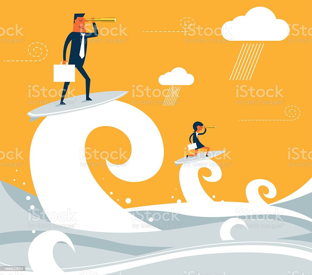 Business Surfing vector art illustration