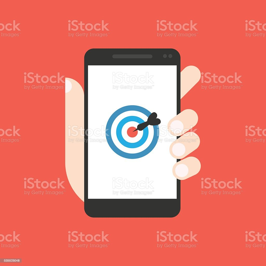 Business target on work on smartphone stock photo