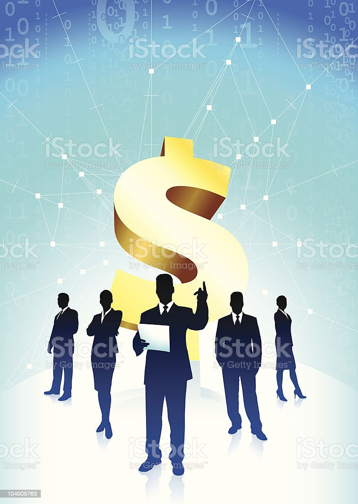 Business team background with Dollar sign royalty-free stock vector art
