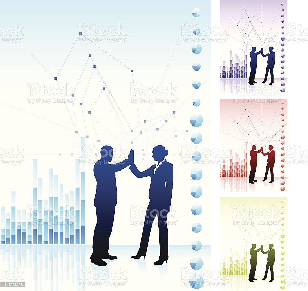 Business team background with financial charts royalty-free stock vector art