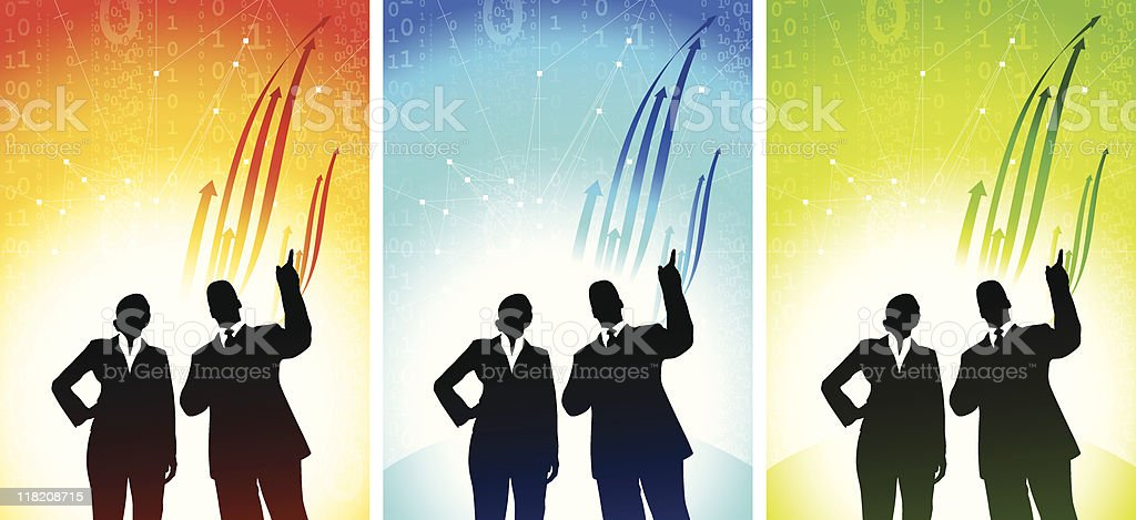 Business team background with rising arrows royalty-free stock vector art