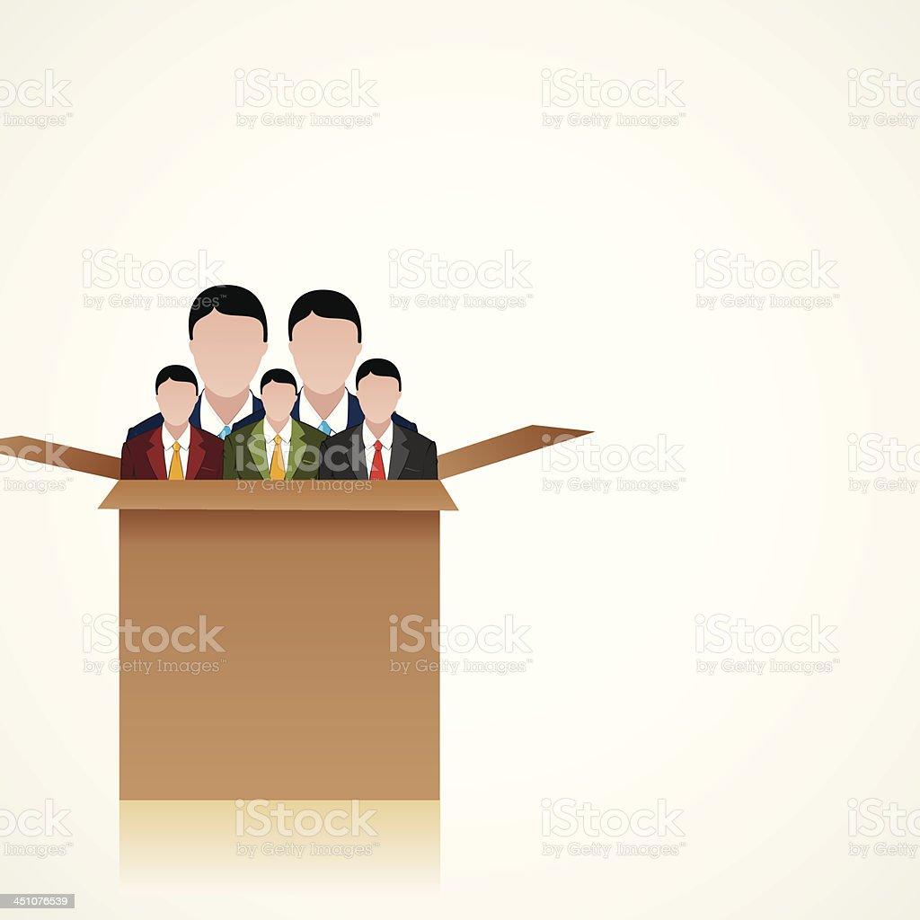 business team box vector art illustration