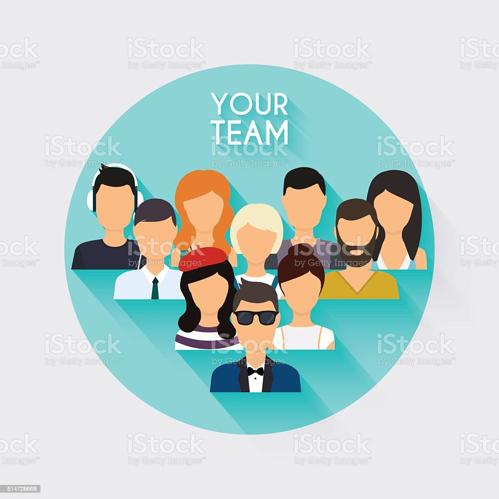 Business Team. Business people and business teamwork. vector art illustration