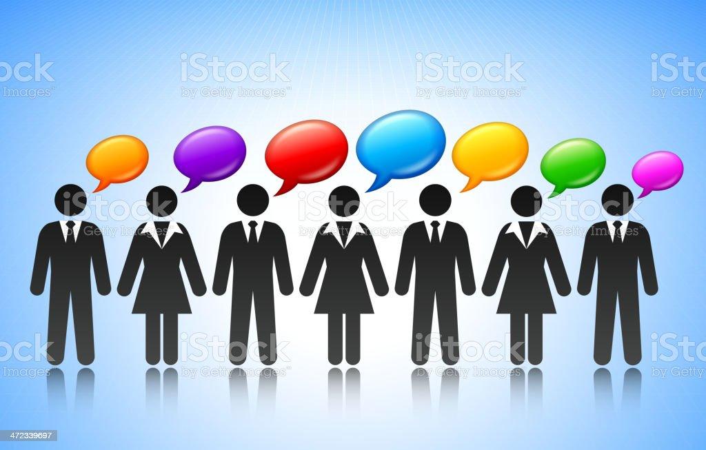 Business Team Communication Stick Figure Concept royalty-free stock vector art