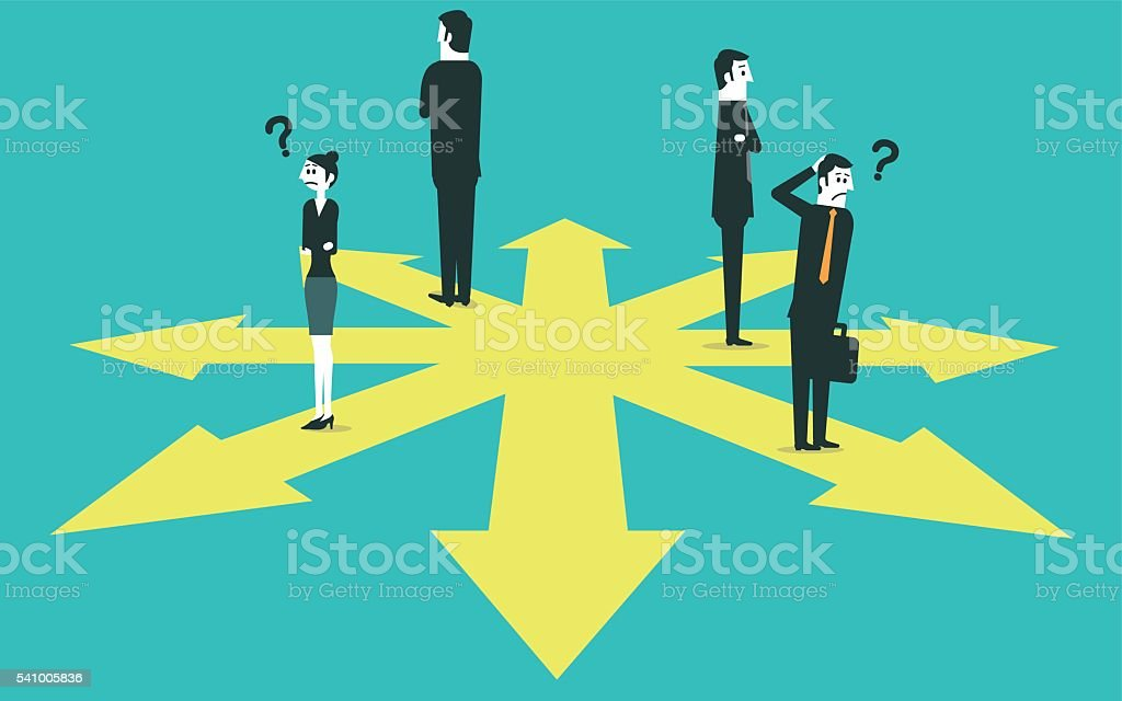Business team confused about which direction to take vector art illustration