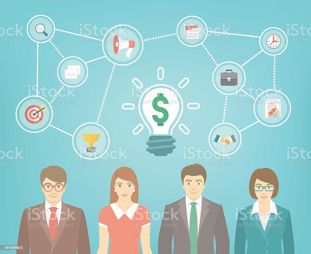 Business Team Creates Idea vector art illustration