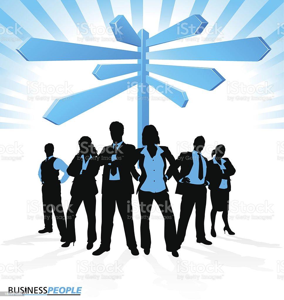 Business Team find Direction. vector art illustration