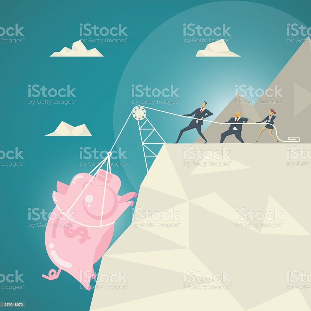 Business team helped pull the pink piggy bank. vector art illustration