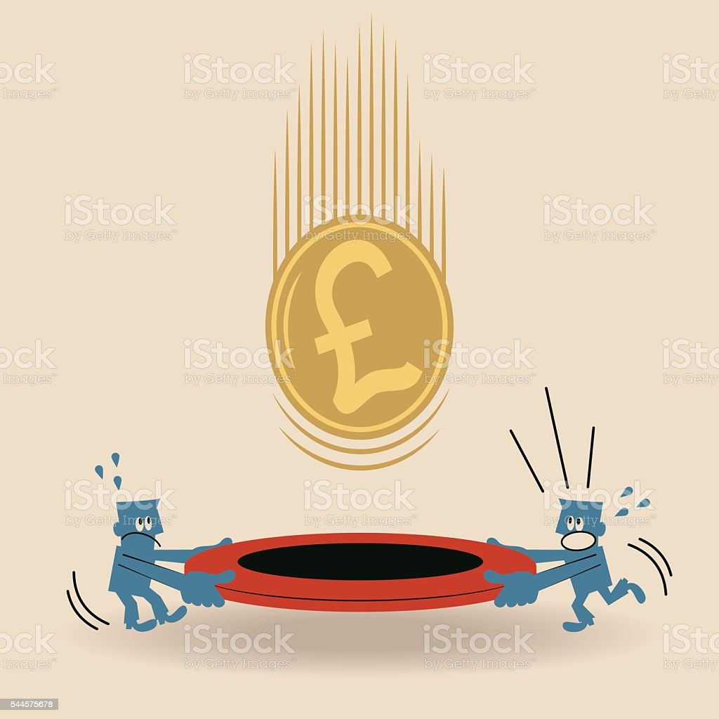 Business team holding safety net (trampoline), catching falling Pound currency vector art illustration