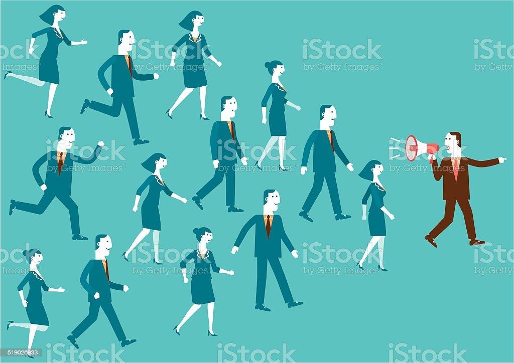 Business Team Leader with Megaphone   New Business Concept vector art illustration