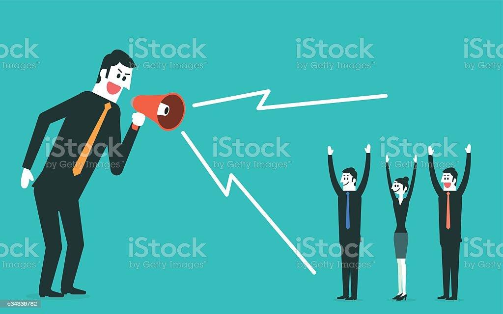 Business team leader with megaphone vector art illustration