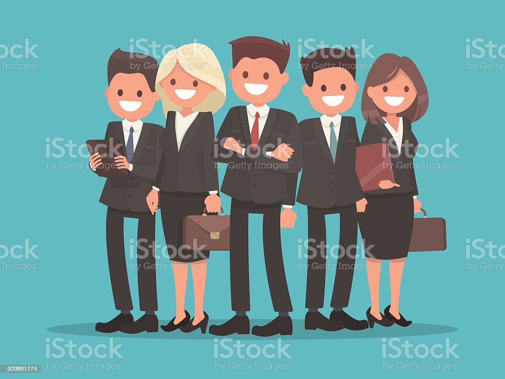 Business team led by the chief. Teamwork vector art illustration