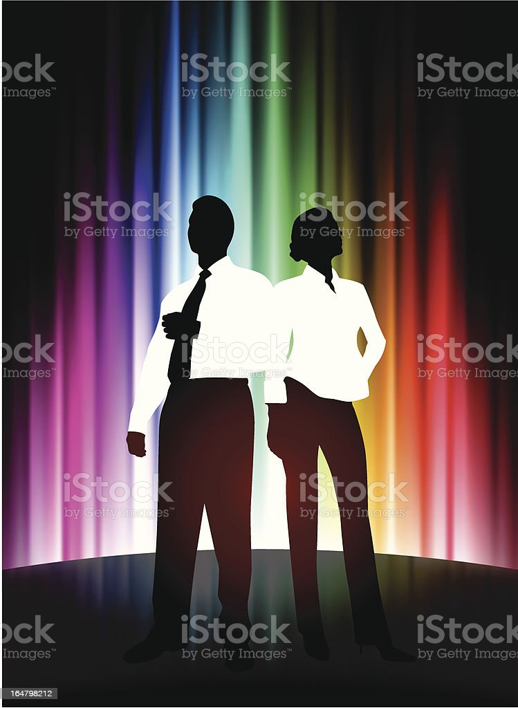 Business Team on Abstract Spectrum Background royalty-free stock vector art