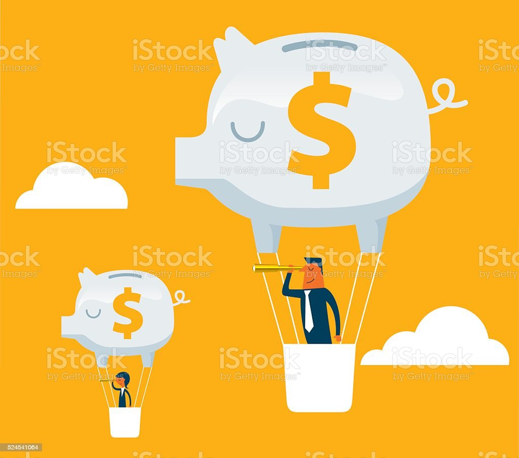 Business Team Piggy Bank Hot Air Balloon Outlook vector art illustration