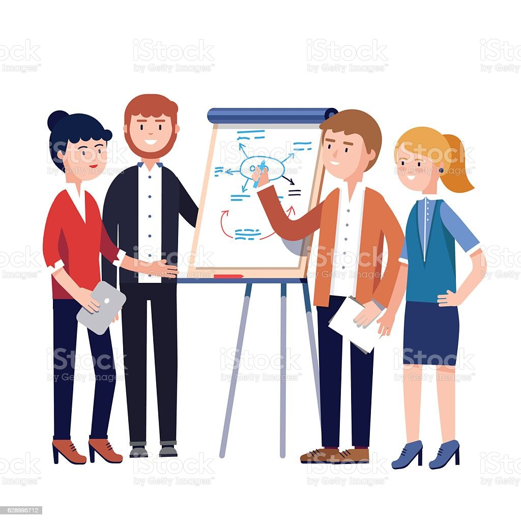 Business team project strategy planning meeting vector art illustration