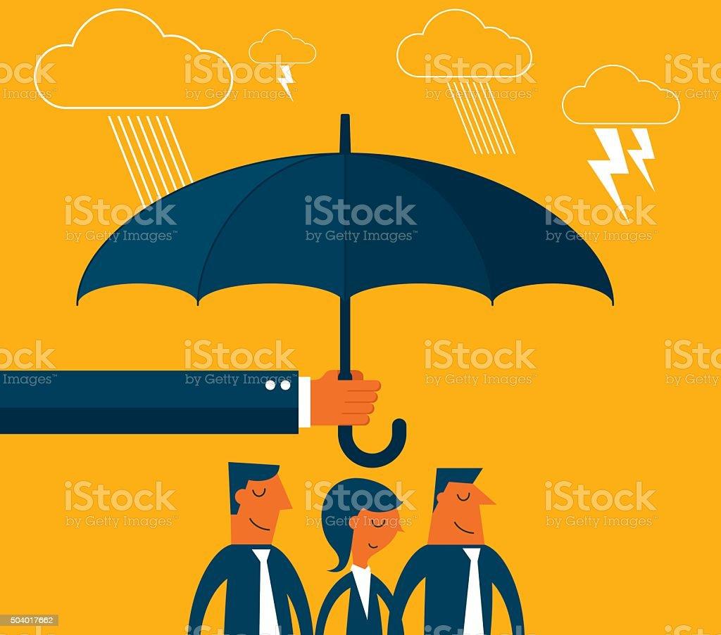 Business Team Protection vector art illustration