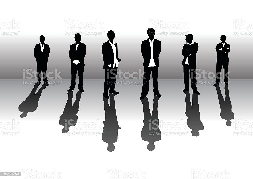 Business team silhouette vector art illustration