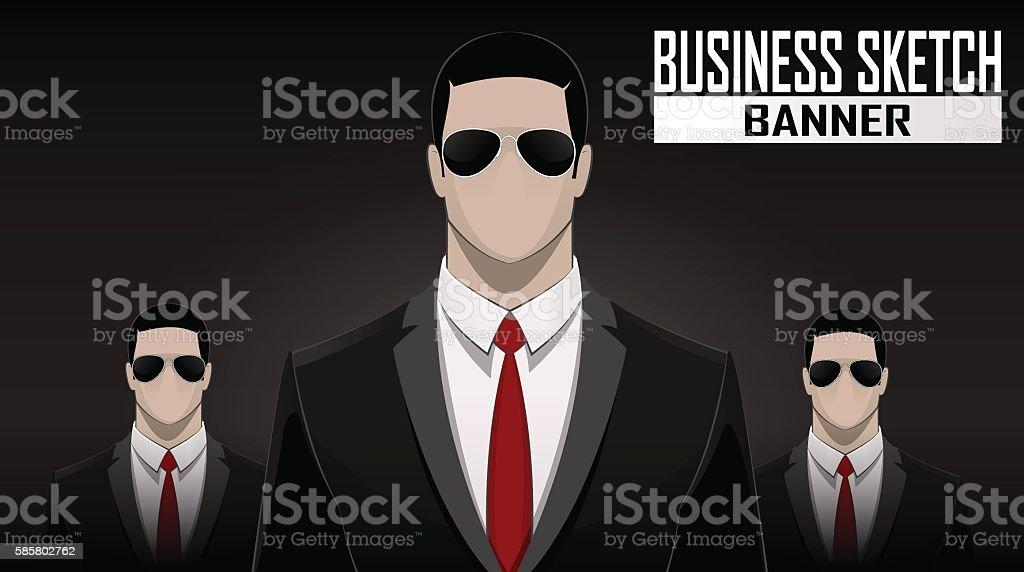 business team standing over dark background vector art illustration