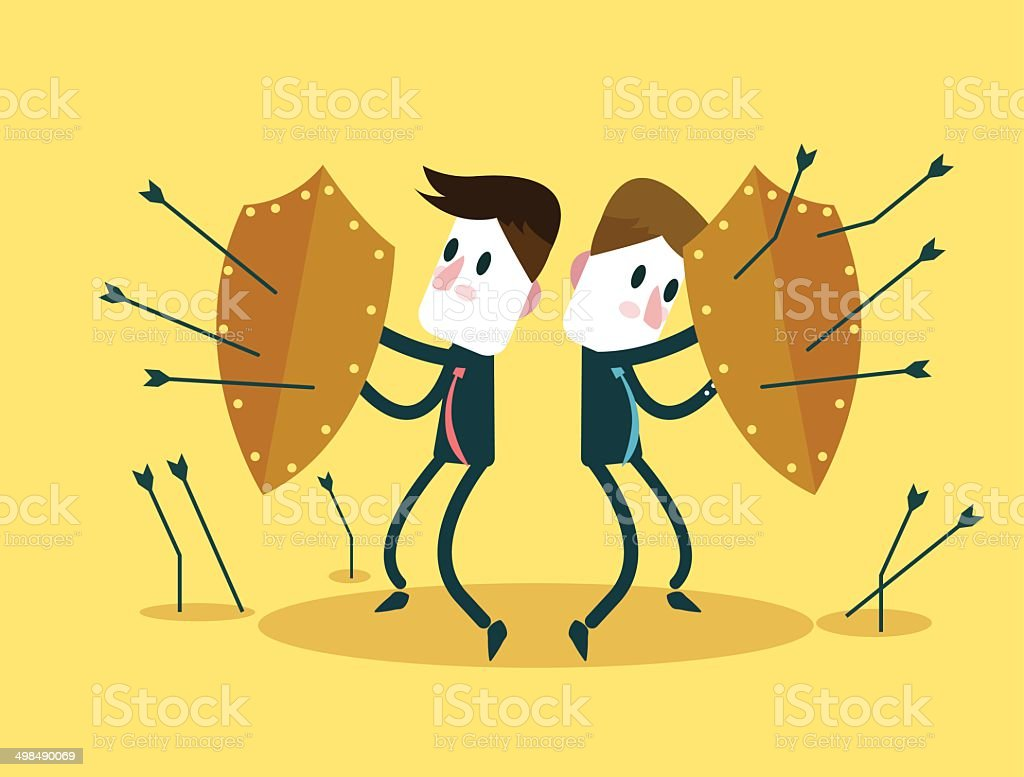 Business Team using shields for self-defense  arrows attack. vector art illustration