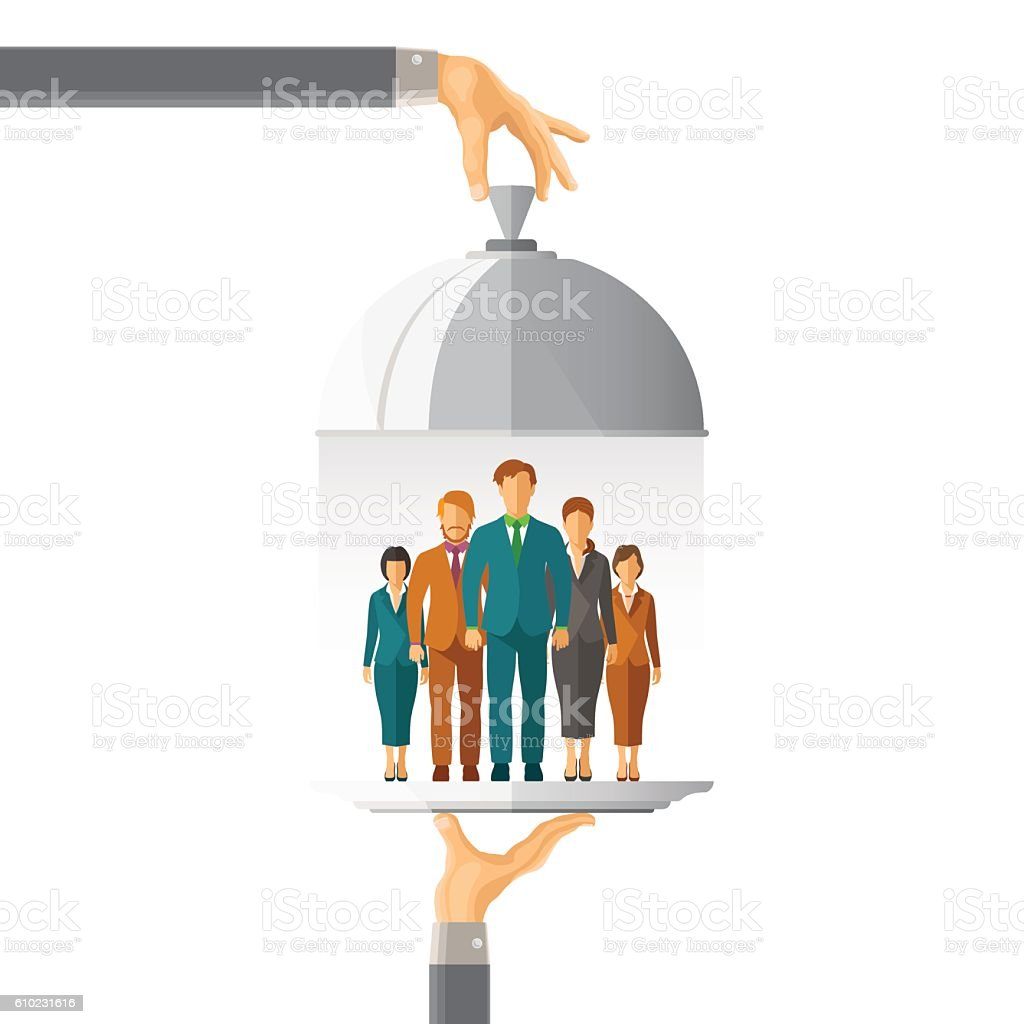 Business team vector concept in flat style vector art illustration