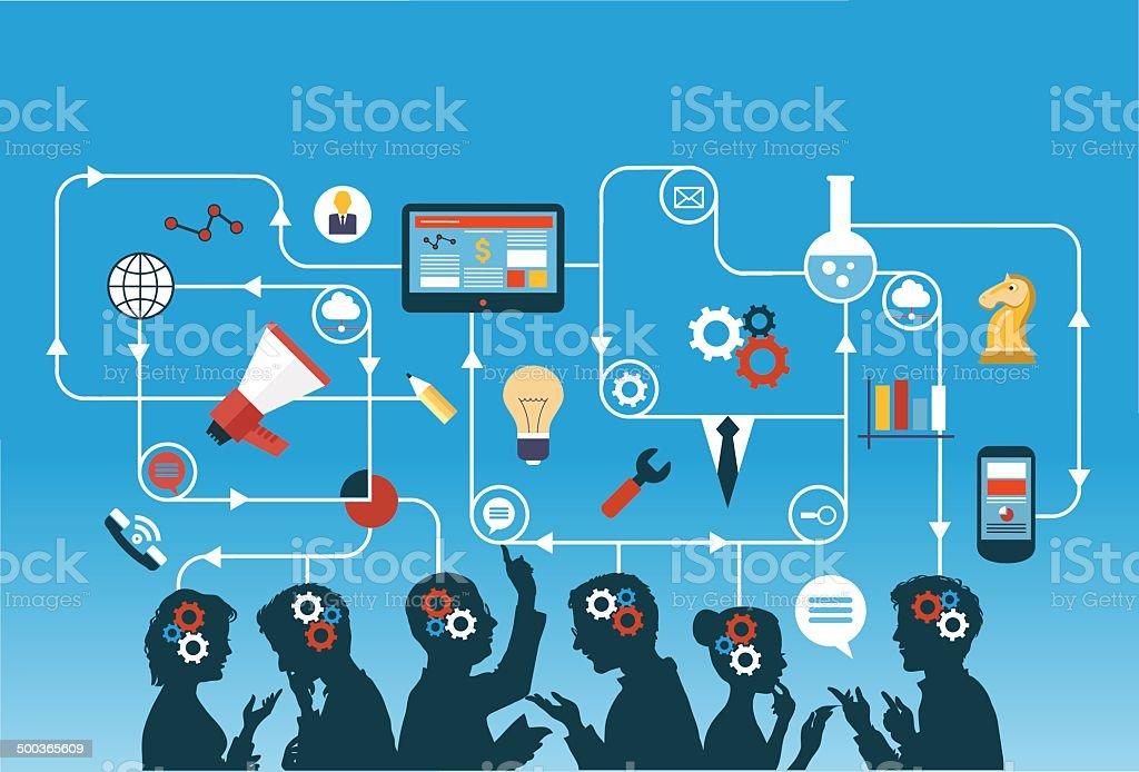 business team vector art illustration