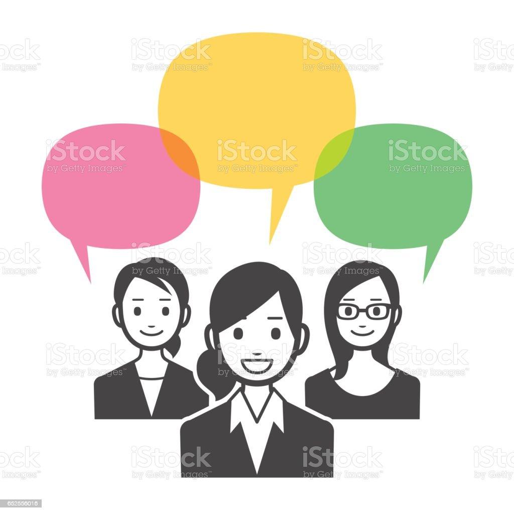 Business team with speech bubbles vector art illustration