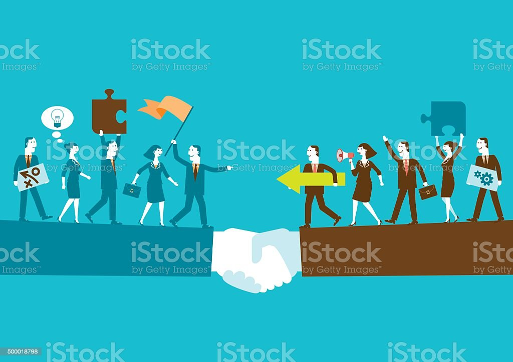 Business Teams Partnership On Giant Handshake | New Business Concept vector art illustration