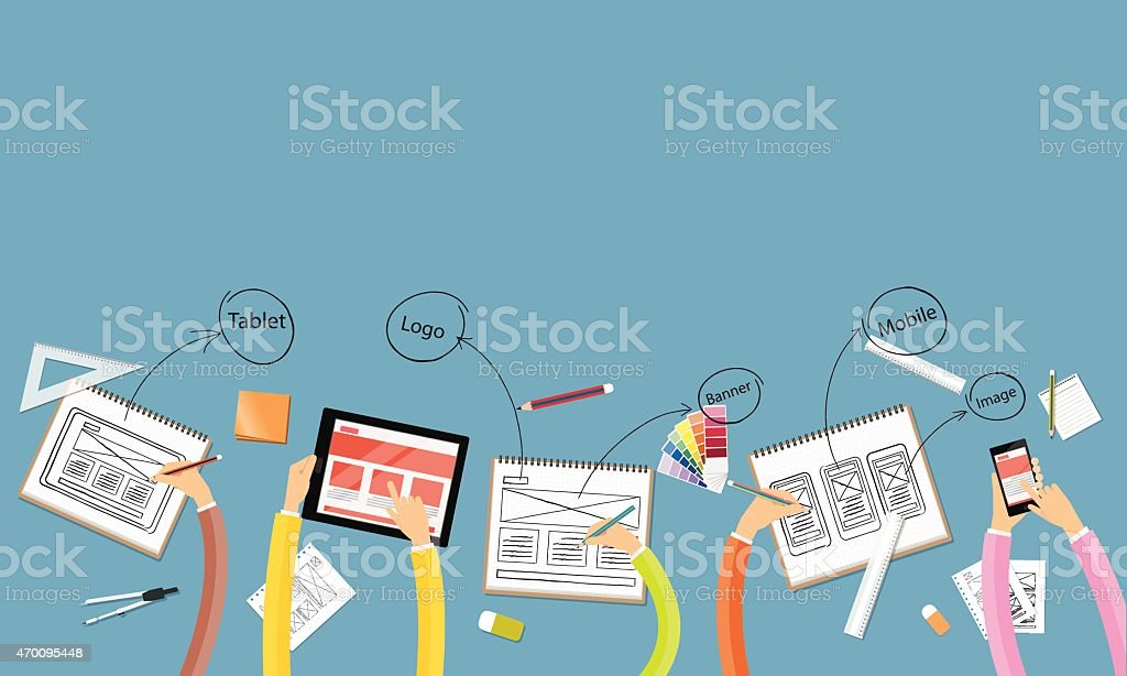 business teamwork and brainstorming for web and application layout design workspace vector art illustration