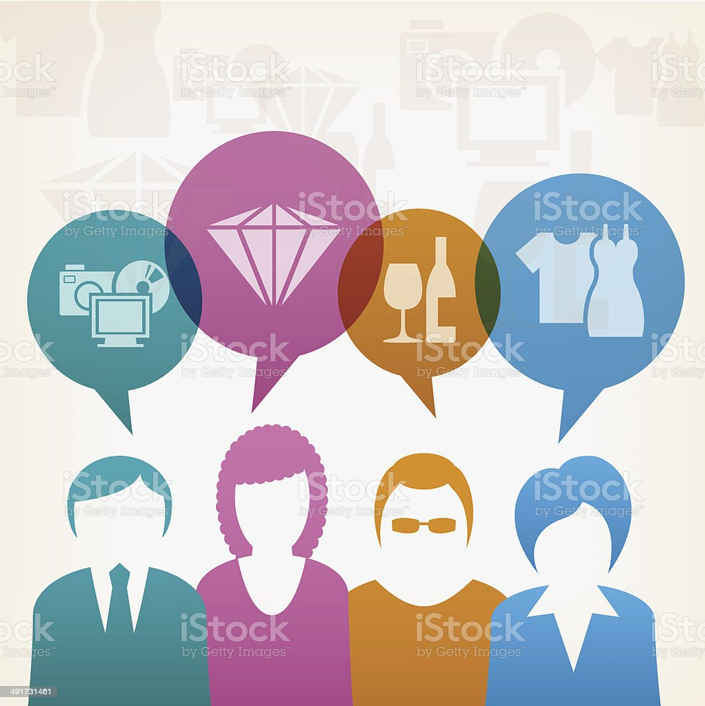 Business teamwork consumption users vector art illustration