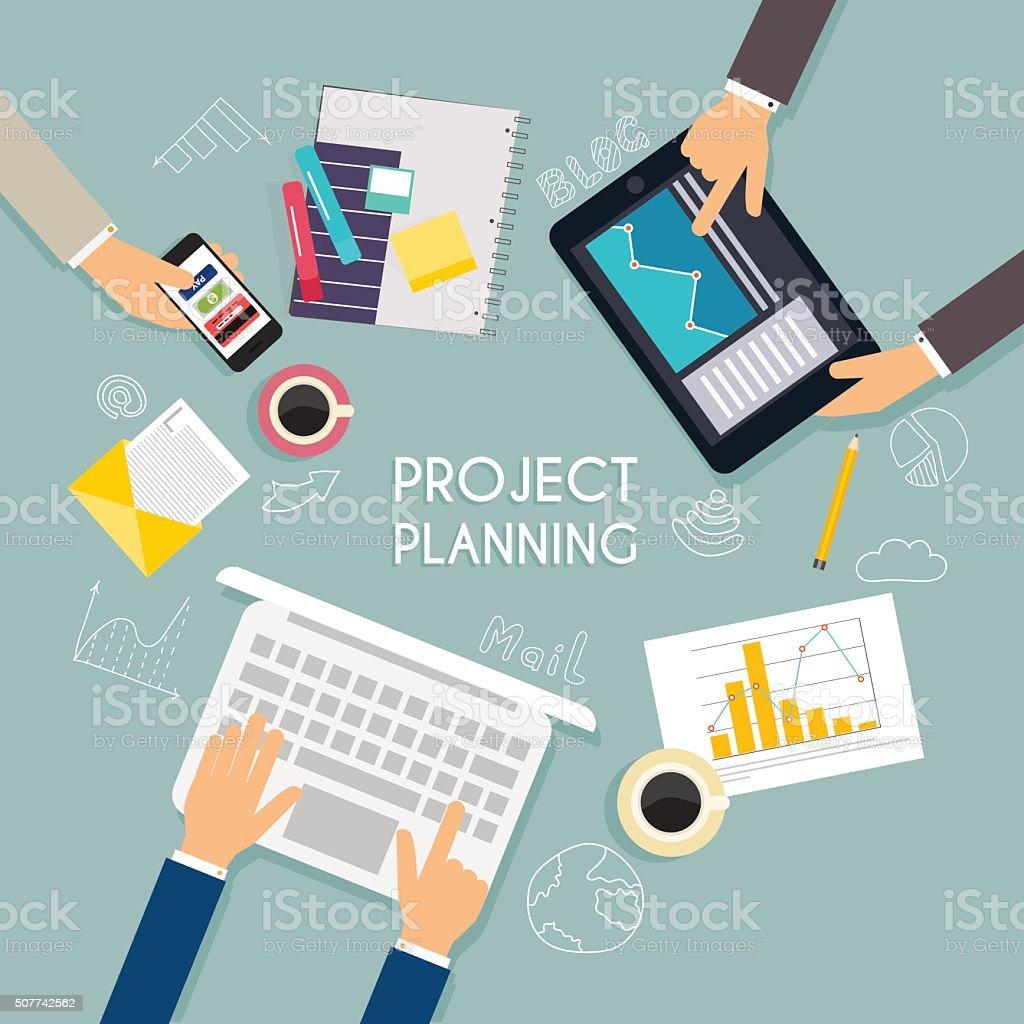 Business teamwork. Flat banner of business strategy. Creative te vector art illustration