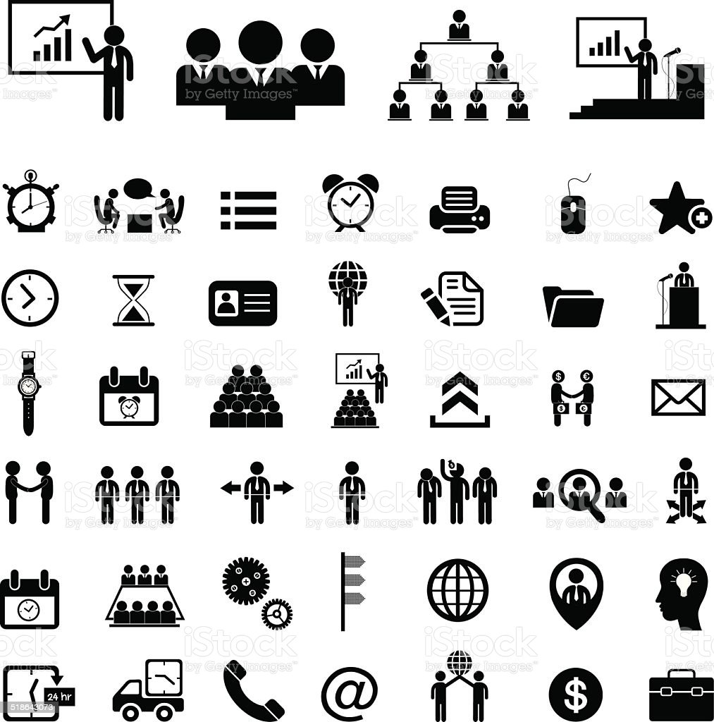 Business teamwork  icon set vector art illustration
